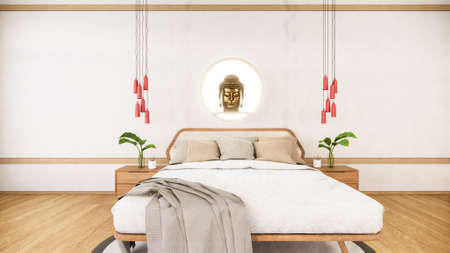 bedroom mock up with wooden bed in japan minimal design. 3D rendering.