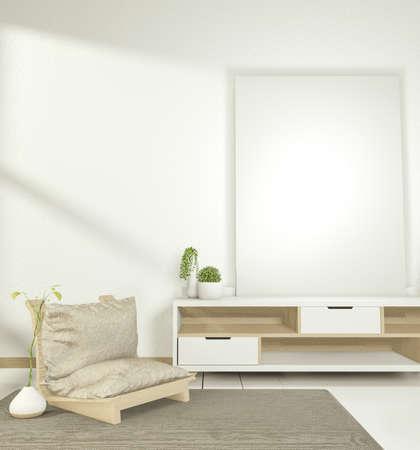 Cabinet modern empty room,minimal design japanese style. 3d rendering
