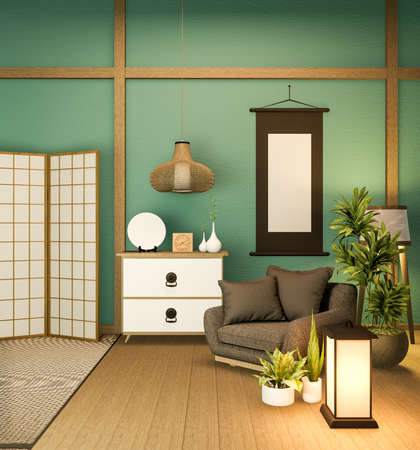 Japanese partition paper wooden design on mint room tatami floor.3D rendering 版權商用圖片