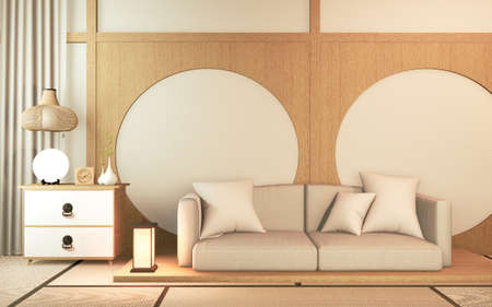 Sofa wooden japan design, on room  japan wooden floor .3D rendering 版權商用圖片