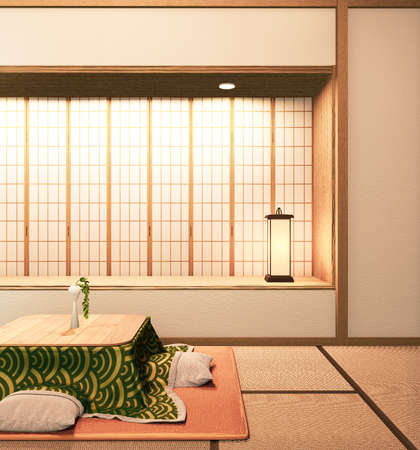 kotatsu low table and pillow on tatami mat, room japan.3D rednering