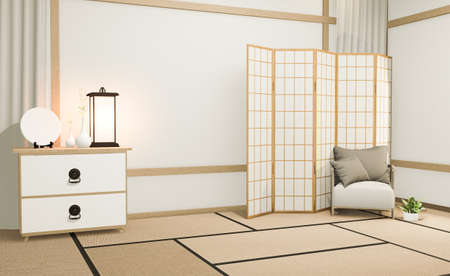 idea of mock up poster cabinet wooden japanese design and on white room. arm chair3D rendering