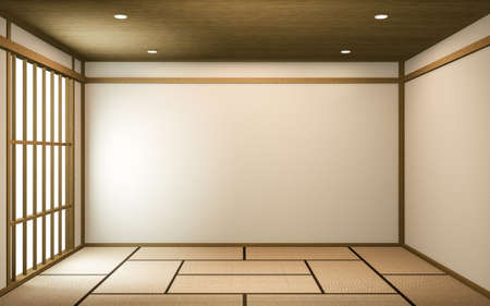 Idea white Empty room Japan interior design. 3D rendering