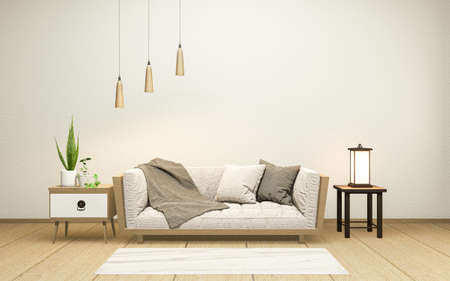 Interior with velvet sofa on empty white wall background japanese style, 3D rendering