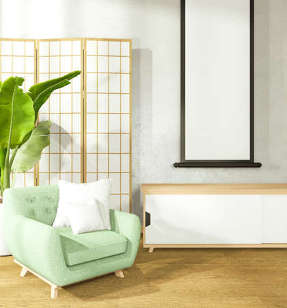 armchair and cabinet in japanese living room on white wall background,3d rendering