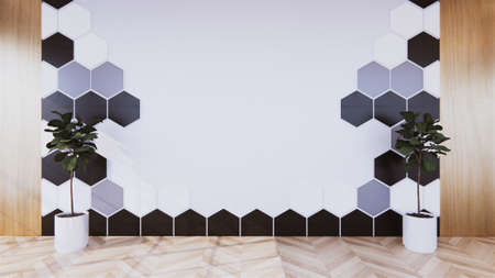 Black Hexagon tile wall on Empty white room on wooden floor interior design. 3D rendering Stock Photo