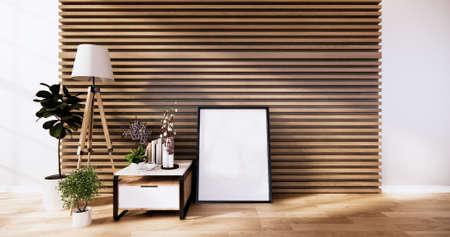 the cabinet, modern living room with wooden wall design and wooden white floor. 3d rendering