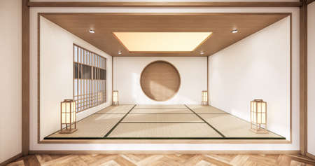 Circle shelf wall design on empty  Living room japanese deisgn with tatami mat floor. 3D rendering Stock Photo