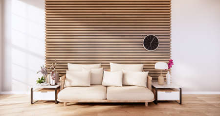 living room with white sofa on zen interior design wooden wall design. 3D rendering