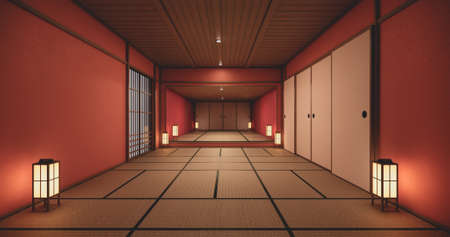 The interior color Red room inteior with tatami mat floor.3D rendering Stock Photo