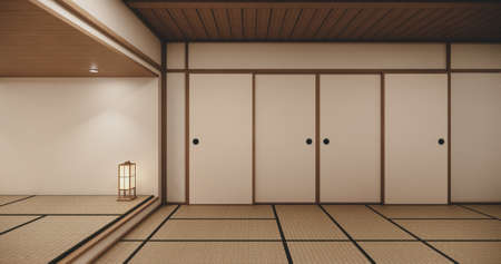 Empty house hall with tatami  floor 2 steps White room tropical style.3D rendering