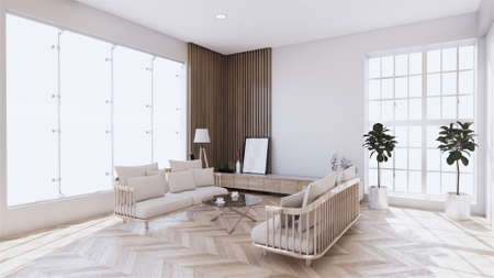 living room with white sofa on zen interior design. 3D rendering Stock Photo