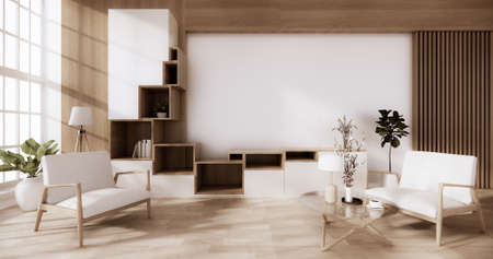 cabinet wooden with on white wall and wooden floor, tropical interior  living room. 3d rendering