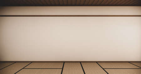 design interior with door paper and cabinet shelf wall on tatami mat floor room japanese style. 3D rendering Stock Photo