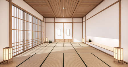 room design interior with door paper and cabinet shelf wall on tatami mat floor room japanese style. 3D rendering