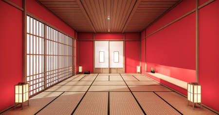 red color room design interior with door paper and cabinet shelf wall on tatami mat floor room japanese style. 3D rendering Stock Photo
