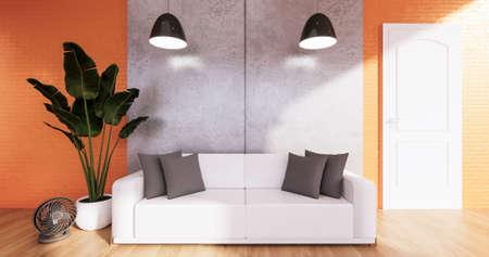 Orange Loft room with sofa and plants decoration on wooden floor.3D rendering