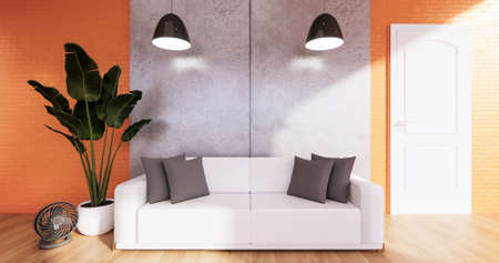 Orange Loft room with sofa and plants decoration on wooden floor.3D rendering