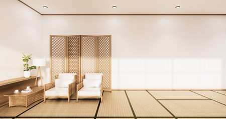 White Sofa japanese on room japan tropical desing and tatami mat floor.3D rendering Reklamní fotografie
