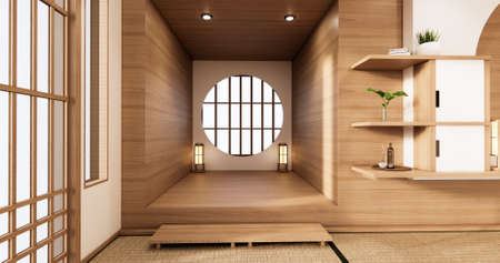 the circle window wooden design idea of room japan and tatami mat. 3D rendering