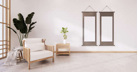 the circle wall design room Japanese - zen style,minimal designs. 3D rendering