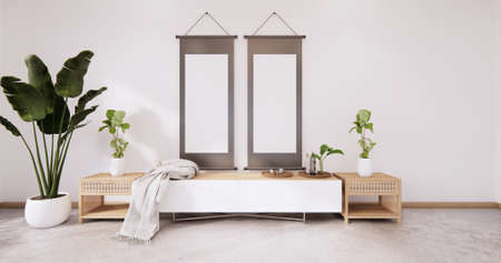 The wooden tv cabinet in white wall on white floor room japanese style. 3d rendering