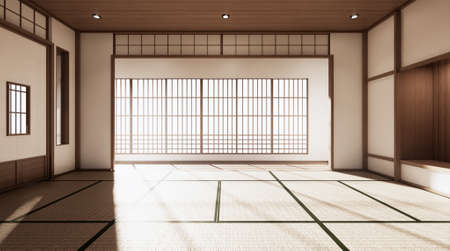 The room is spacious design of the Japanese style  And light in natural tones. 3D rendering