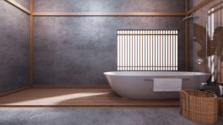the bathtub in Japanese bathroom has a side pool design room is spacious And light in natural tones. 3D rendering Stok Fotoğraf