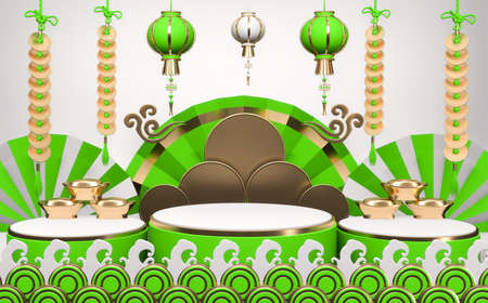 Abstract green podium show in cyan color background.3D rendering 版權商用圖片