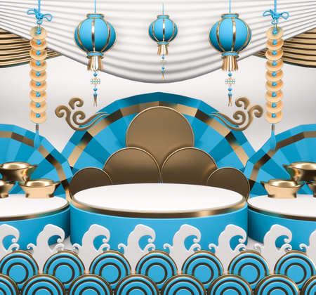 Abstract cyan podium show in cyan color background.3D rendering
