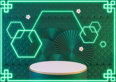 China fantasy green podium light neon blue show cosmetic product .3D rendering 版權商用圖片