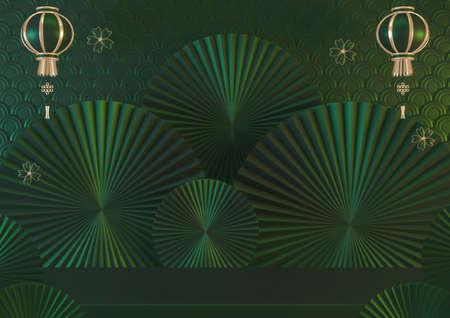 Japan Mock up, Dark green background  for product display. 3D rendering 版權商用圖片
