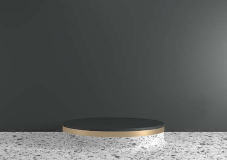 Modern Black granite background and white podium show cosmetic product geometric. 3D rendering