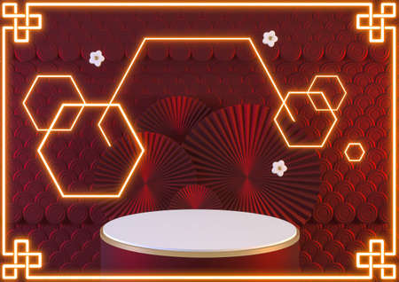 Red podium and neon light show cosmetic product geometric .3D rendering