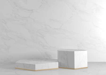 Luxury Hexagon podium white granite for show cosmetic product geometric. 3D rendering 版權商用圖片