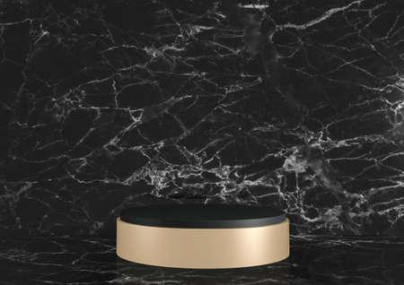 Modern Black granite background and podium show cosmetic product geometric. 3D rendering 版權商用圖片