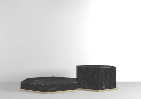Luxury Hexagon podium black granite for show cosmetic product geometric on white background. 3D rendering