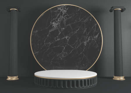 Modern Black granite background and black podium show cosmetic product geometric. 3D rendering