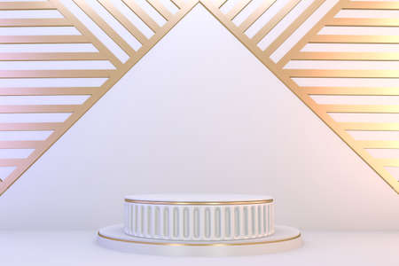 Modern pedestal white and gold for the presentation of cosmetic products. 3D rendering 版權商用圖片