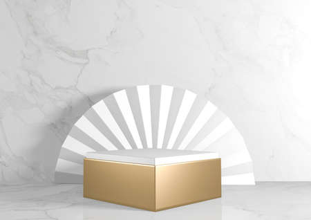 Square rectangle Pedestal white for cosmetic product on background granite white. 3d rendering