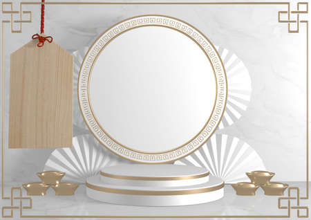 Roman podium  white for cosmetic product on background granite white. 3d rendering 版權商用圖片