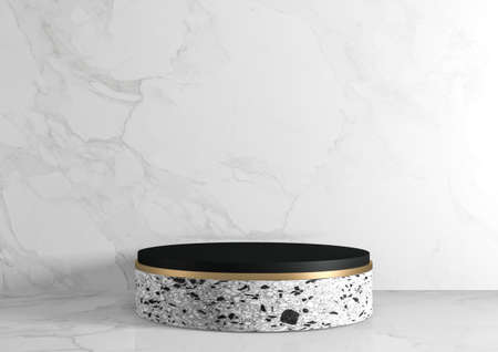 Modern granite background and podium show cosmetic product geometric. 3D rendering
