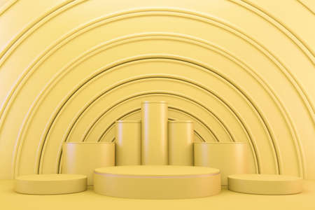 3d rendering. yellow Modern minimalistic mock up yellow podium abstract cylinder display.