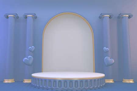 pedestal blue on blue background for the presentation . 3D rendering