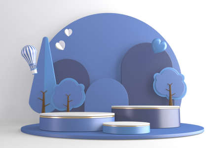 blue Modern Cylinder podiums blue and white and decoration cartoon style.3D rendering