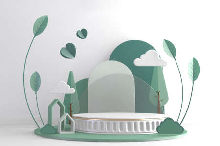 Modern Cylinder podiums green and decoration cartoon style.3D rendering 版權商用圖片