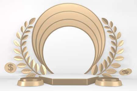 Victory  golden podium winner on white background minimal design. 3D rendering Stok Fotoğraf