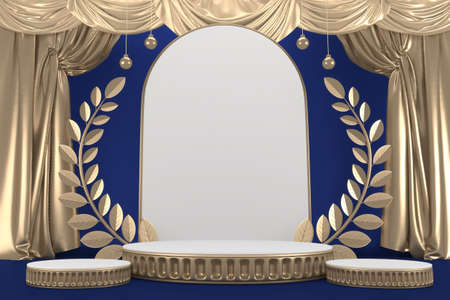 Victory blue adstract , podium for cosmetic product. 3d rendering Stok Fotoğraf
