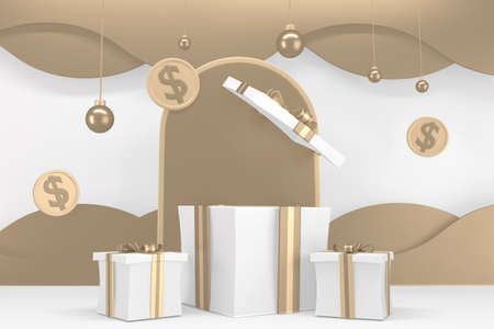 Roman podium  white for cosmetic product on background white. 3d rendering