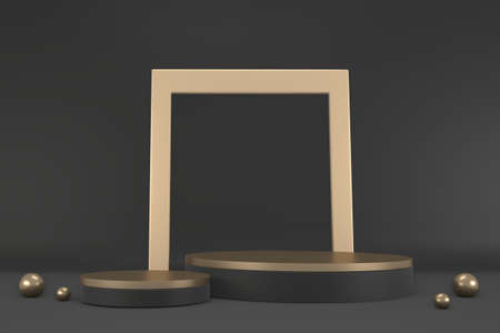 Black abstract design black podium show cosmetic products. 3D rendering Stok Fotoğraf